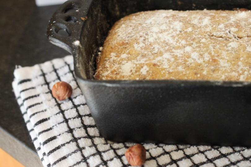 italian hazelnut cake in pan