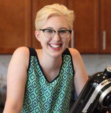 Blonde woman in kitchen